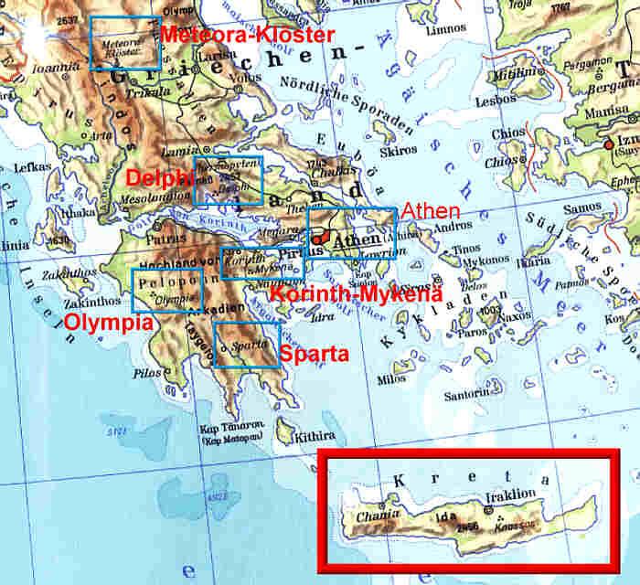 Kreta Karte Mit Sehenswürdigkeiten.Reisekarte Sehenswürdigkeiten Landkarte Griechenland